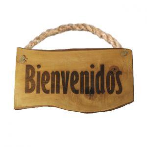 TABLA DE MADERA GRANDE BIENVENIDOS
